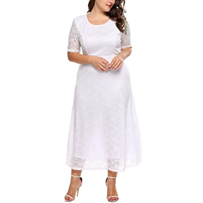 Zeagoo Women Plus Size Maxi Lace Bridesmaids Dress Short Sleeve Cocktail Wedding Party Dress