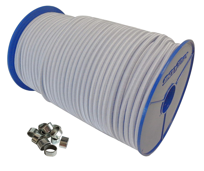 6mm Expanderseil 30m Gummiseil 30 W/ürgeklemmen Gummileine Planenseil Seil Plane in Weiss