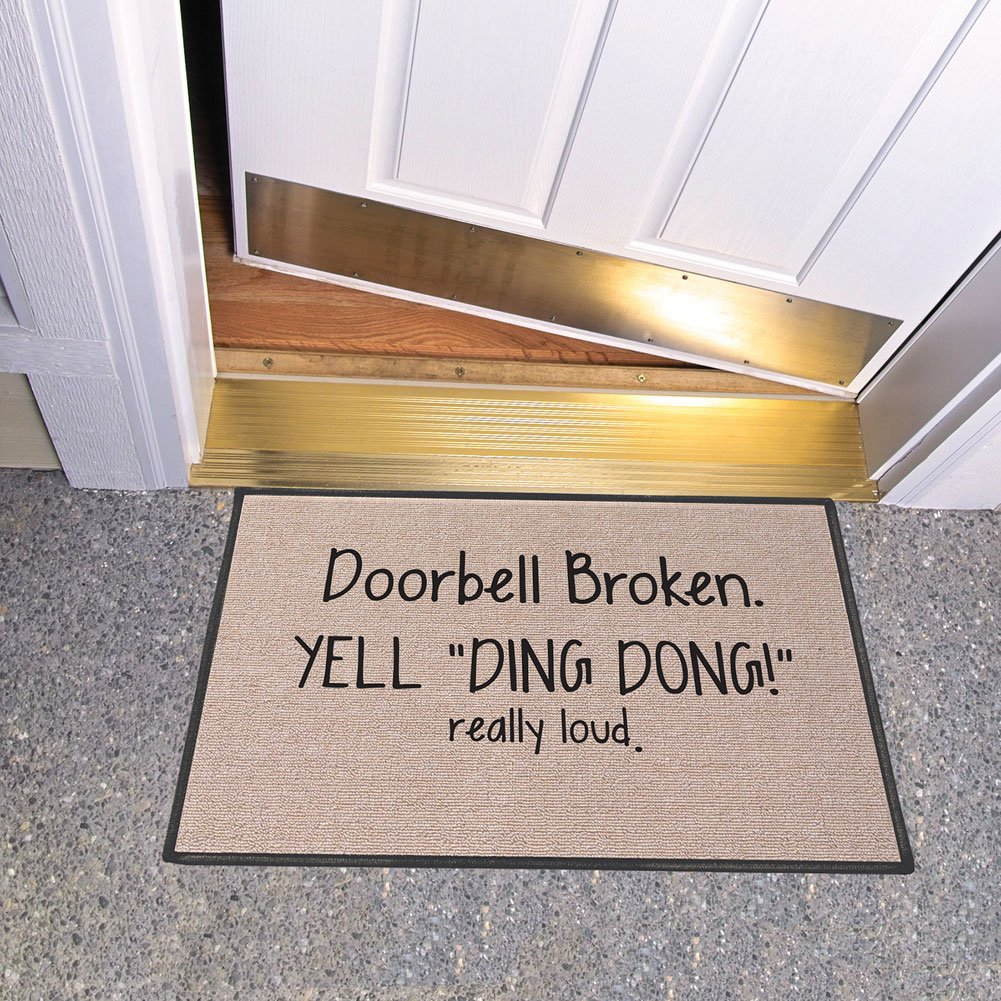 SIGNALS Doorbell Broken Yell Ding Dong! Really Loud Doormat - Weather Resistant by SIGNALS (Image #2)