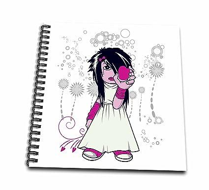 3drose Db_102503_1 Emo Girl Tween Holding Heart In Hand Heartbreak Design Drawing Book 8