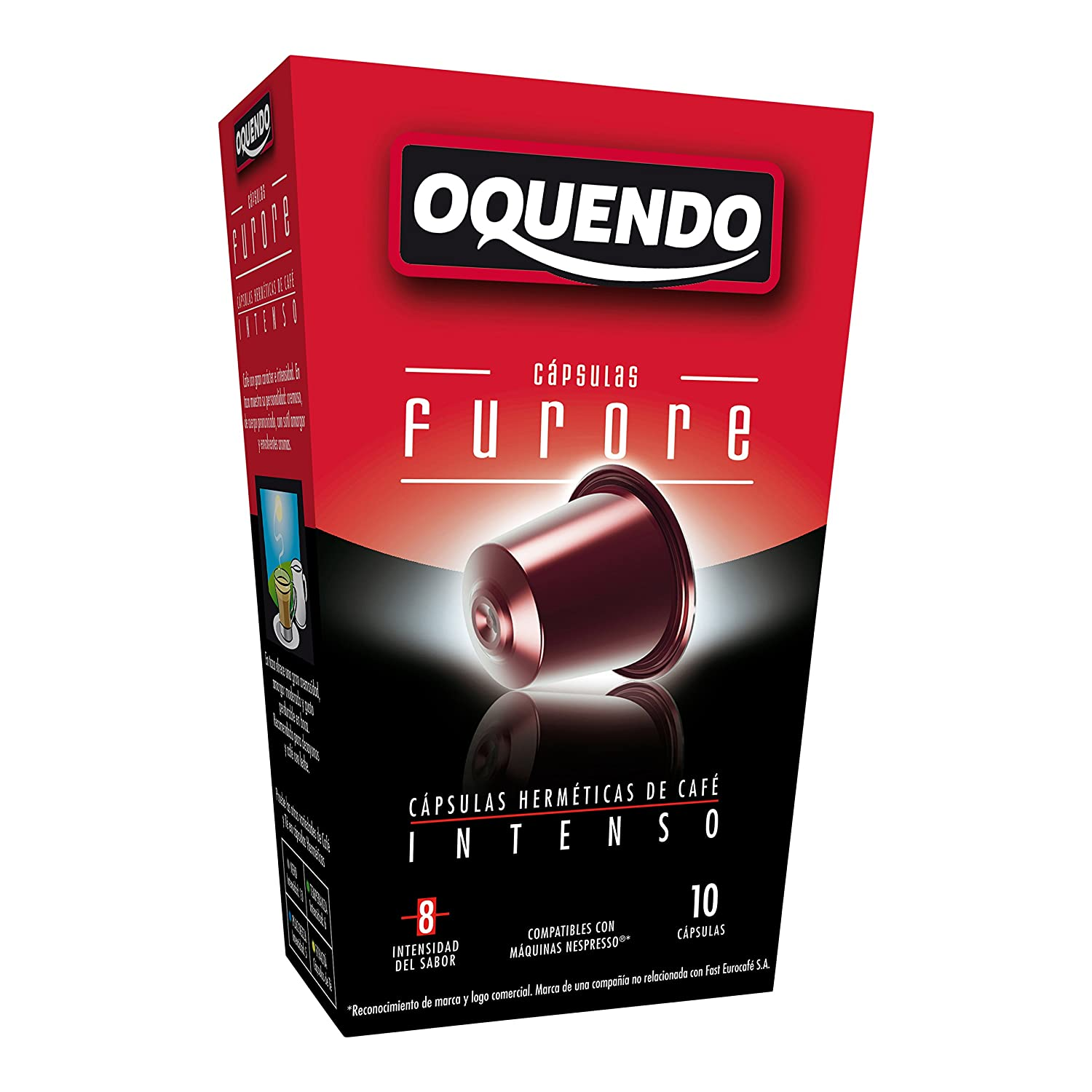 80 Cafés Oquendo Nespresso Compatible Coffee Capsules – (NERO) Premium Quality Nespresso coffee - 8 Boxes 10 capsules in each box - 80 cups - 60 Day ...