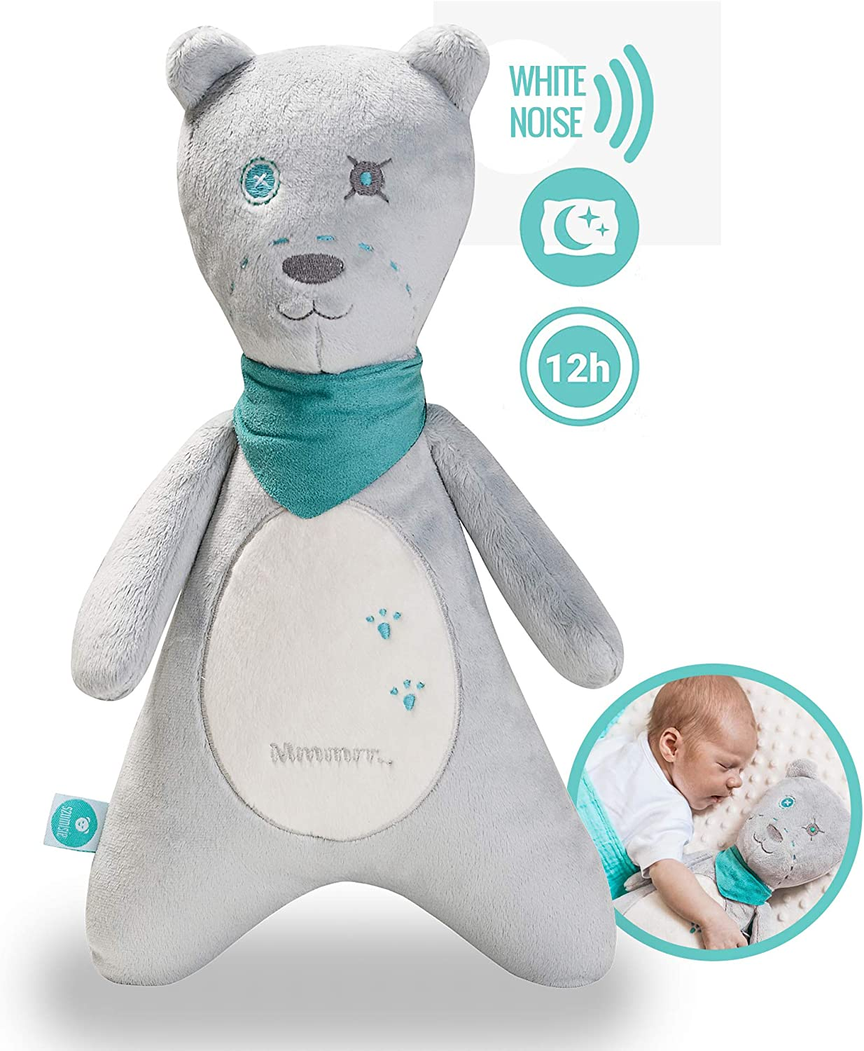 myHummy Baby Sleep Soother Teddy Bear (Boy) Plush Sound Machine with 5 White Noise Sound Options - 60 Minute or 12 Hour Continuous Options