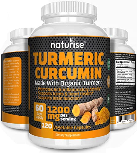 Turmeric Curcumin Supplement with Black Pepper Made with Organic Tumeric, 120 Turmeric Capsules High Potency 95 Standardized Curcuminoids Non-GMO, Helps with Back Pain Relief Joint Support