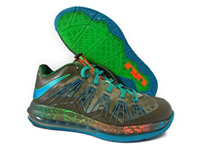 timeless design 62bd0 5f829 Nike AIR MAX Lebron X 10 Low TARP Green NEON Turquoise Poison Green Mens  Basketball Shoes