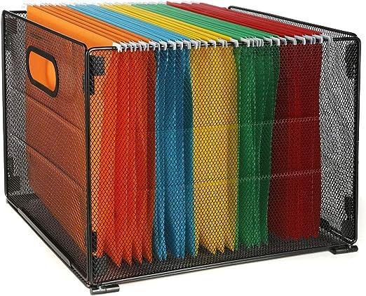 SamStar - Caja de archivadores de malla de metal, organizador de archivos, caja de almacenamiento, color negro: Amazon.es: Hogar