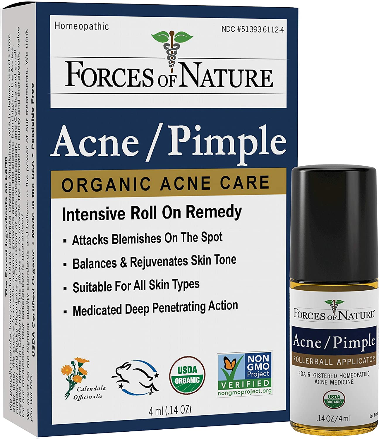 Forces of Nature - Natural, Organic Acne Skin Care Treatment (4ml) Non GMO, No Harmful Chemicals, Cruelty Free - Fight Acne, Clear Skin, Balance Skin Tone