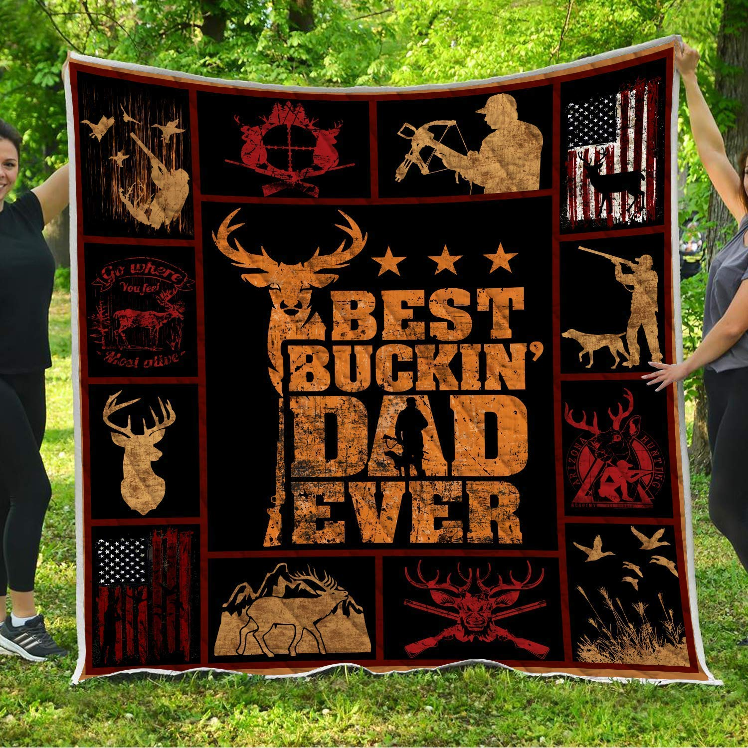 Best Buckin Dad Ever Quilt Pattern Blanket Comforters with Reversible Cotton King Queen Full Twin Size Quilted Hunting Birthday Christmas Gifts for Daddy Father Hunters from Kids Son Daughter Wife