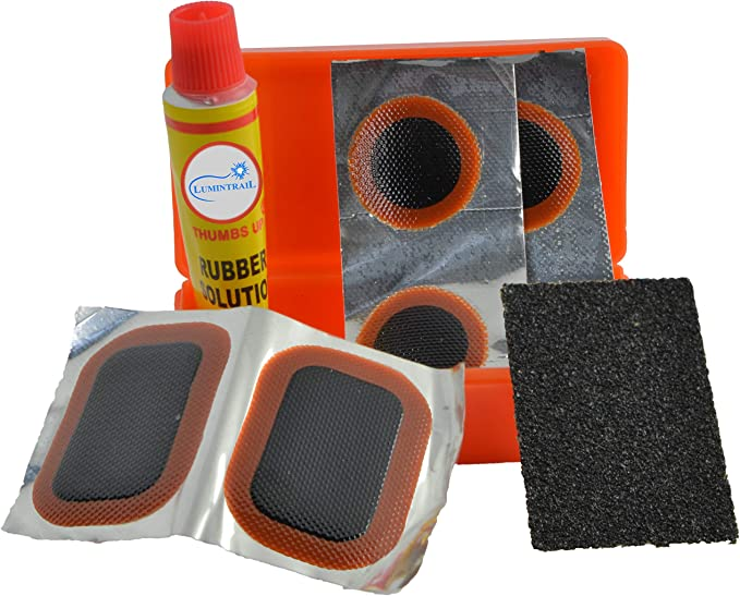 1 Sandpaper 1-100 Packs Lumintrail Glueless Bike Tire Patch Kit w// 6 Adhesive Bicycle Tube Puncture Repair Patches 1 Portable Case