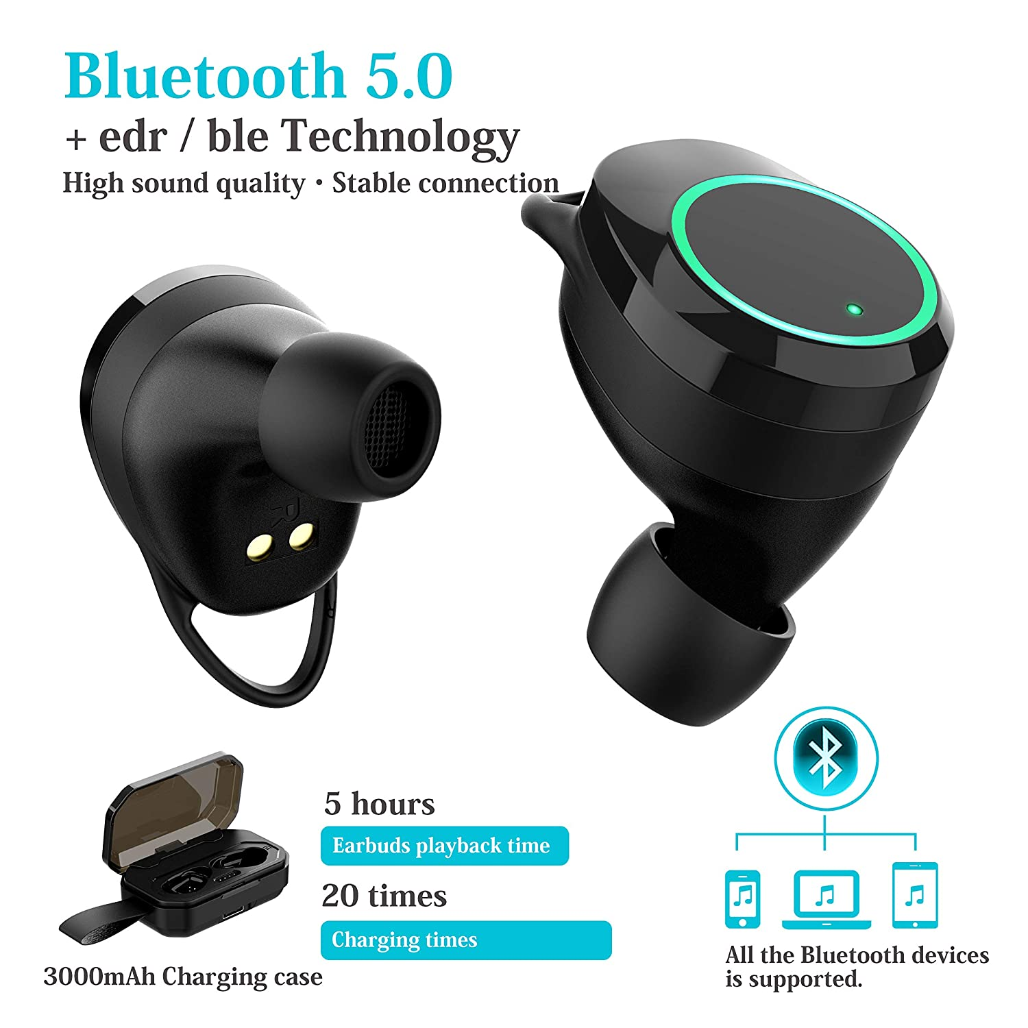 True Wireless Bluetooth Earbuds – Bluetooth 5.0 Headphones – IPX7 Waterproof – HD Sound Quality – Wireless Earphones with Mic and Charging Case Upgraded 2019