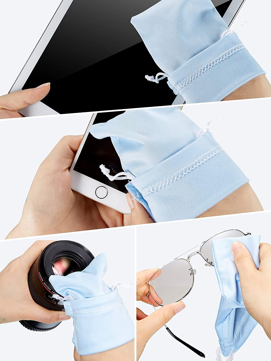 7 Colors 70 Pieces Microfiber Case Bag Glasses Bag Pouch Sunglasses Storage Bag with Cleaning Cloth
