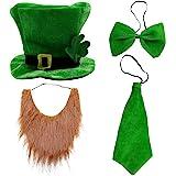 Creepyparty festa di san patrizio costume completo cappello, arco, papillon, barba, sciarpa (cappello, barba, cravatta, papillon)