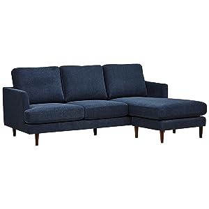 """Rivet Goodwin Modern Sectional Sofa, 88.6""""W, Navy Blue"""