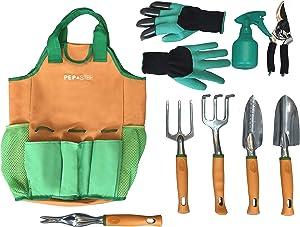 Garden Tool Set   Garden Tools Organizer Tote   Gardening Gloves Included Great Garden Tools for Woman and Men   9 Piece Garden Accessories Tool Organizer Kit   Gardening Gifts   Gardeners Supply