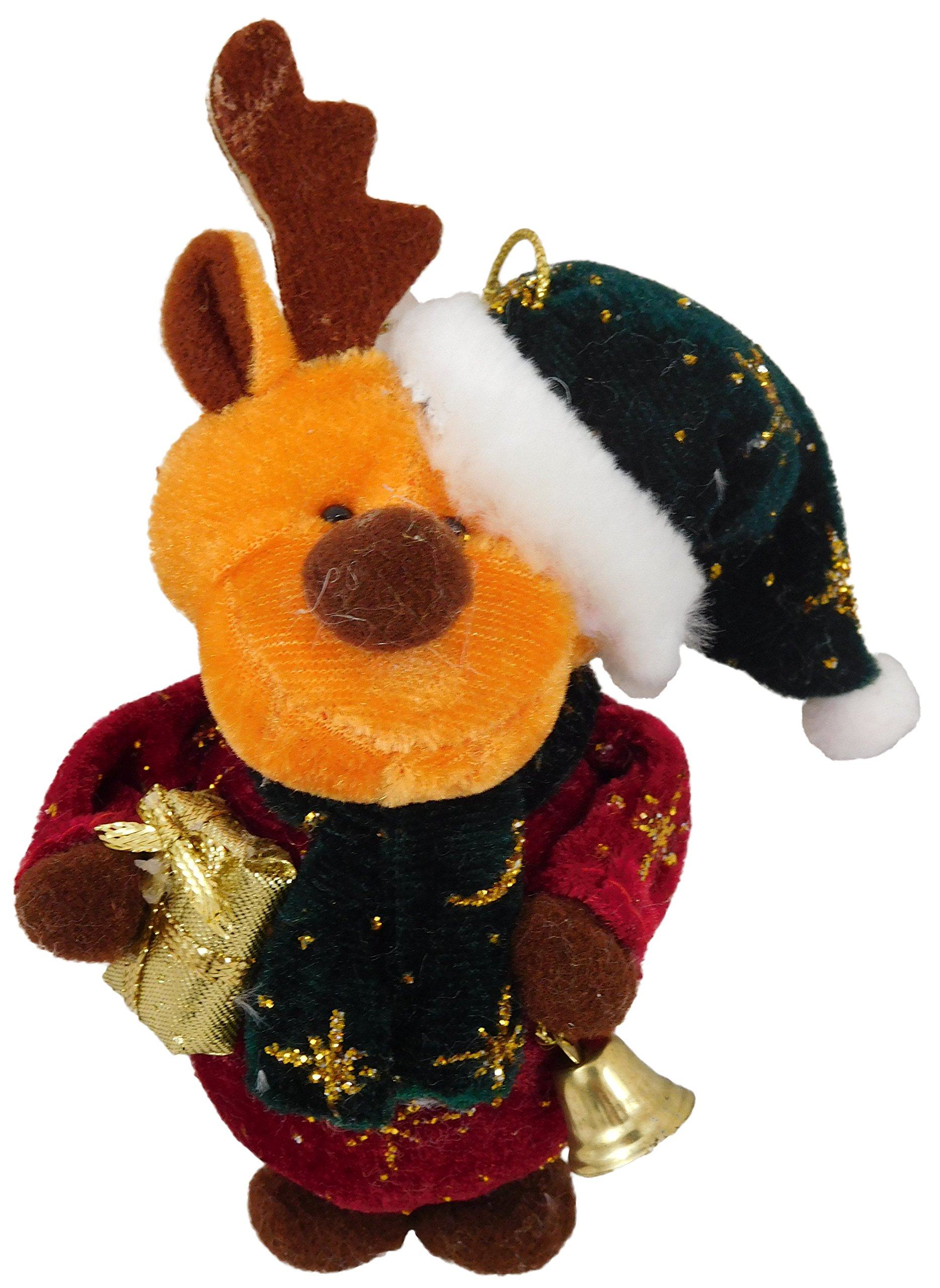 Christmas Concepts 4'' Angela's Sparkle Fabric Hanging Reindeer Christmas Tree Decoration - Reindeer with Green Hat - Cute Christmas Decorations