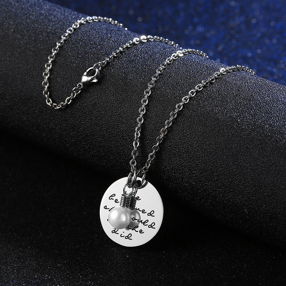 Gagafeel Women Girls Stainless Steel Disc Necklace She Believed She Could So She Did Christmas Gift (Style 2-Small)