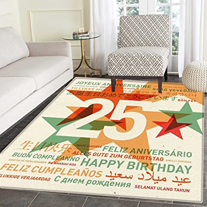 25th Birthday Area Rug Carpet Vintage Colored Stars And Greetings In Different Languages Retro Art Print