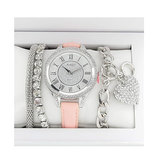 3968f99846d8 Hermosa de San Valentín Ladies brazo Candy juego de reloj joyería - st10119  Blush  Ashley Princess  Amazon.es  Relojes