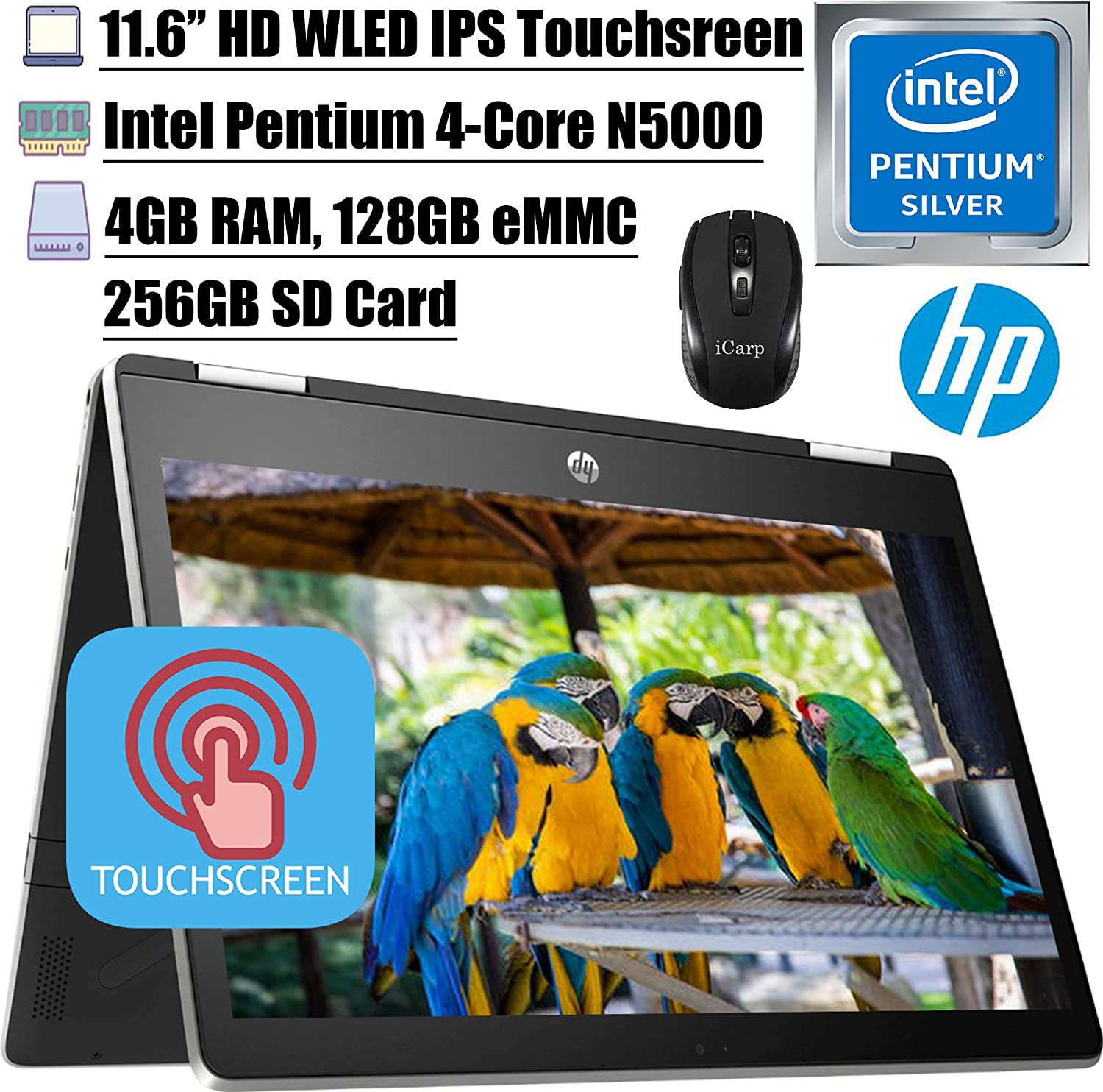 "2020 Latest HP Pavilion X360 11 2 in 1 Laptop 11.6"" HD IPS Touchscreen Intel Quad-Core Pentium Silver N5000 4GB DDR4 128GB eMMC + 256GB SD Card HP Audio Boost WiFi HDMI + iCarp Wireless Mouse"