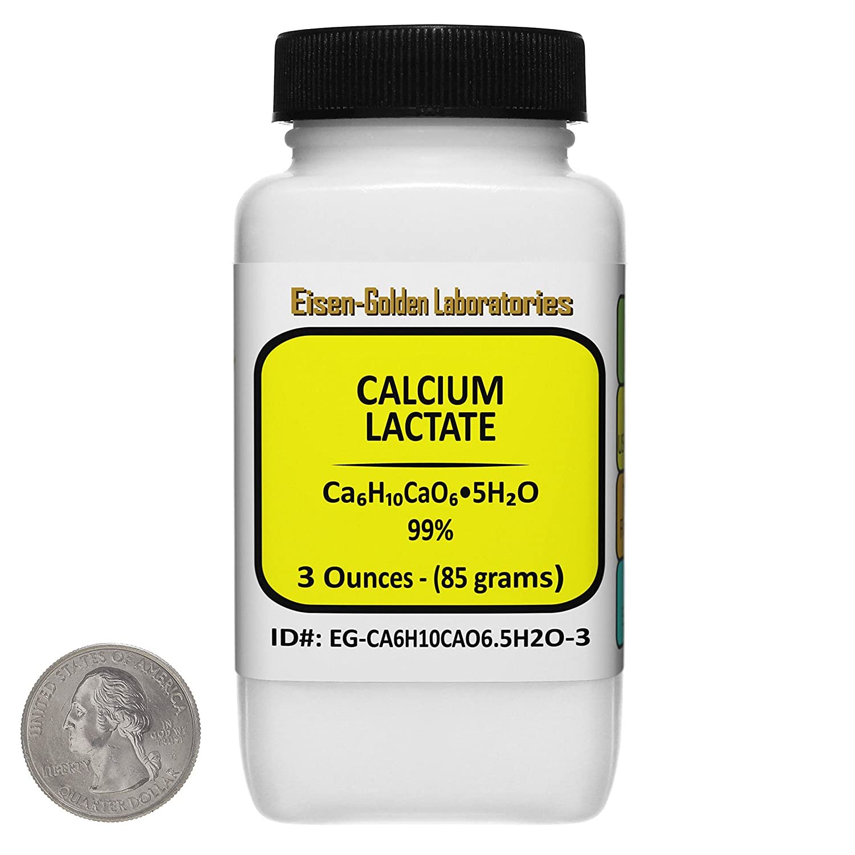 Calcium Lactate [C6H10CaO6.5H2O] 99% USP-FCC Food Grade Powder 3 Oz in a Bottle USA