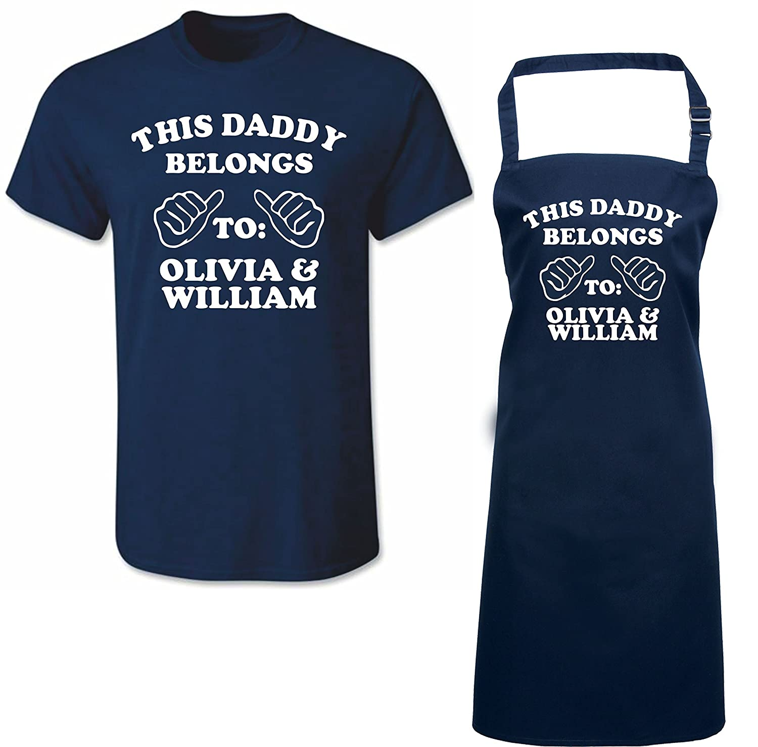 'THIS DADDY BELONGS TO:.....' Personalised Matching Fathers Day T-shirt & Apron Gift Set iin Navy