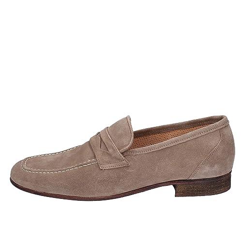 NICO BOSSI Mocasines Hombre Gamuza Beige: Amazon.es: Zapatos y complementos