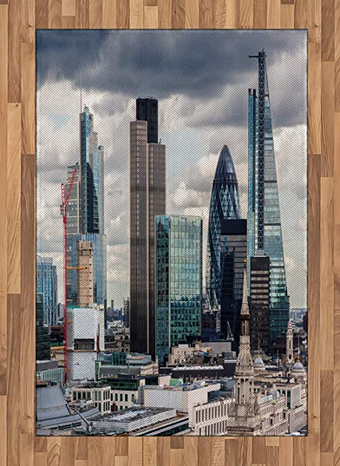 Amazon Com Ambesonne Urban Area Rug London England Skyline Buildings And Skyscrapers And Cloudy Sky Modern Capital City Flat Woven Accent Rug For Living Room Bedroom Dining Room 4 X 5 7 Multicolor Kitchen