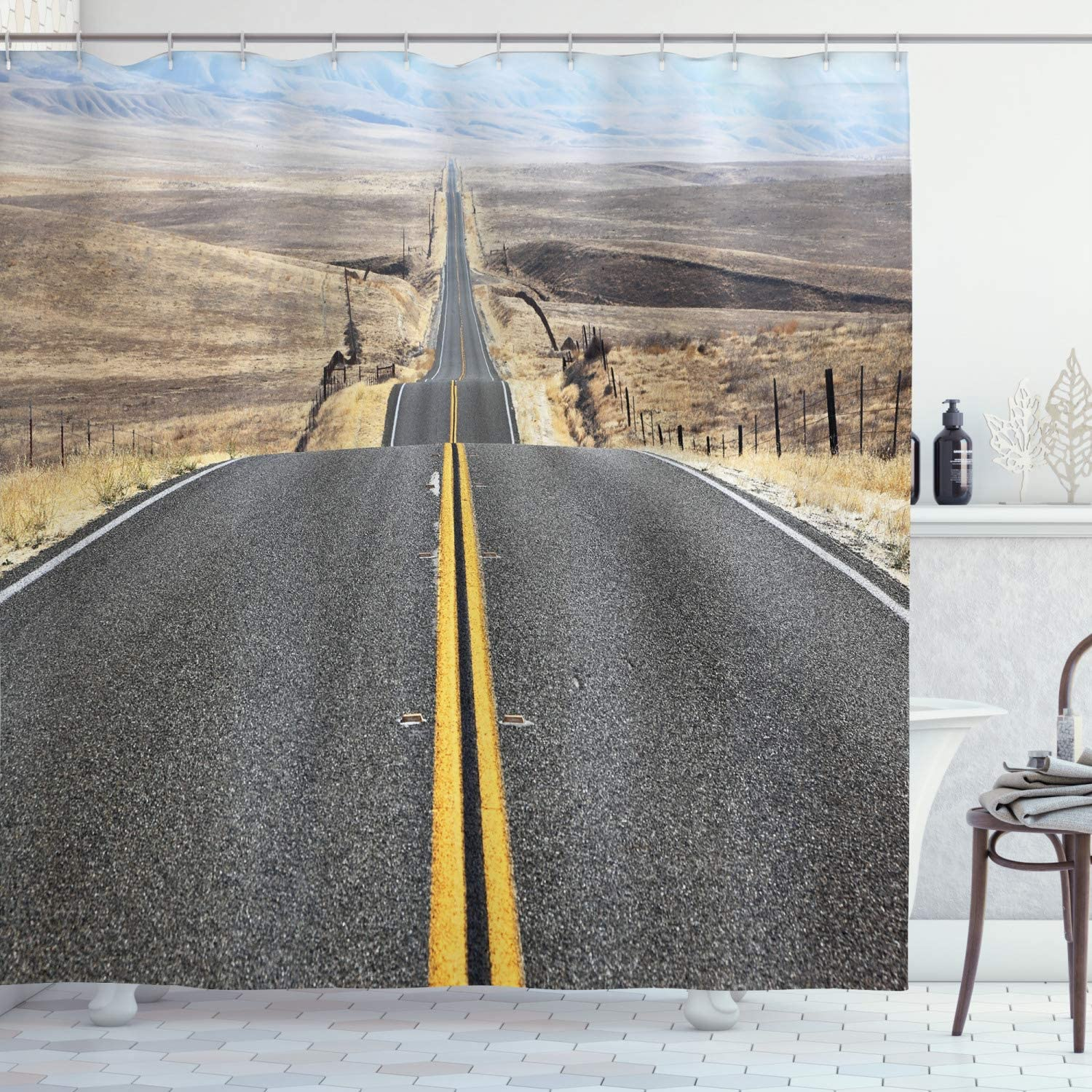 Ambesonne Landscape Shower Curtain, Pacific Coast Highway on The Road Trip to Endless Desert Western Photograph Wilderness, Cloth Fabric Bathroom Decor Set with Hooks, 84