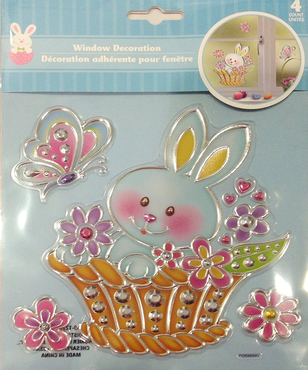 Easter Spring Window Decoration Bundle - Adorable Bunny Ducky and Chick Sun Catcher Window Decal Stickers (2-Pack Bunny & Chick) by EasterTime (Image #2)