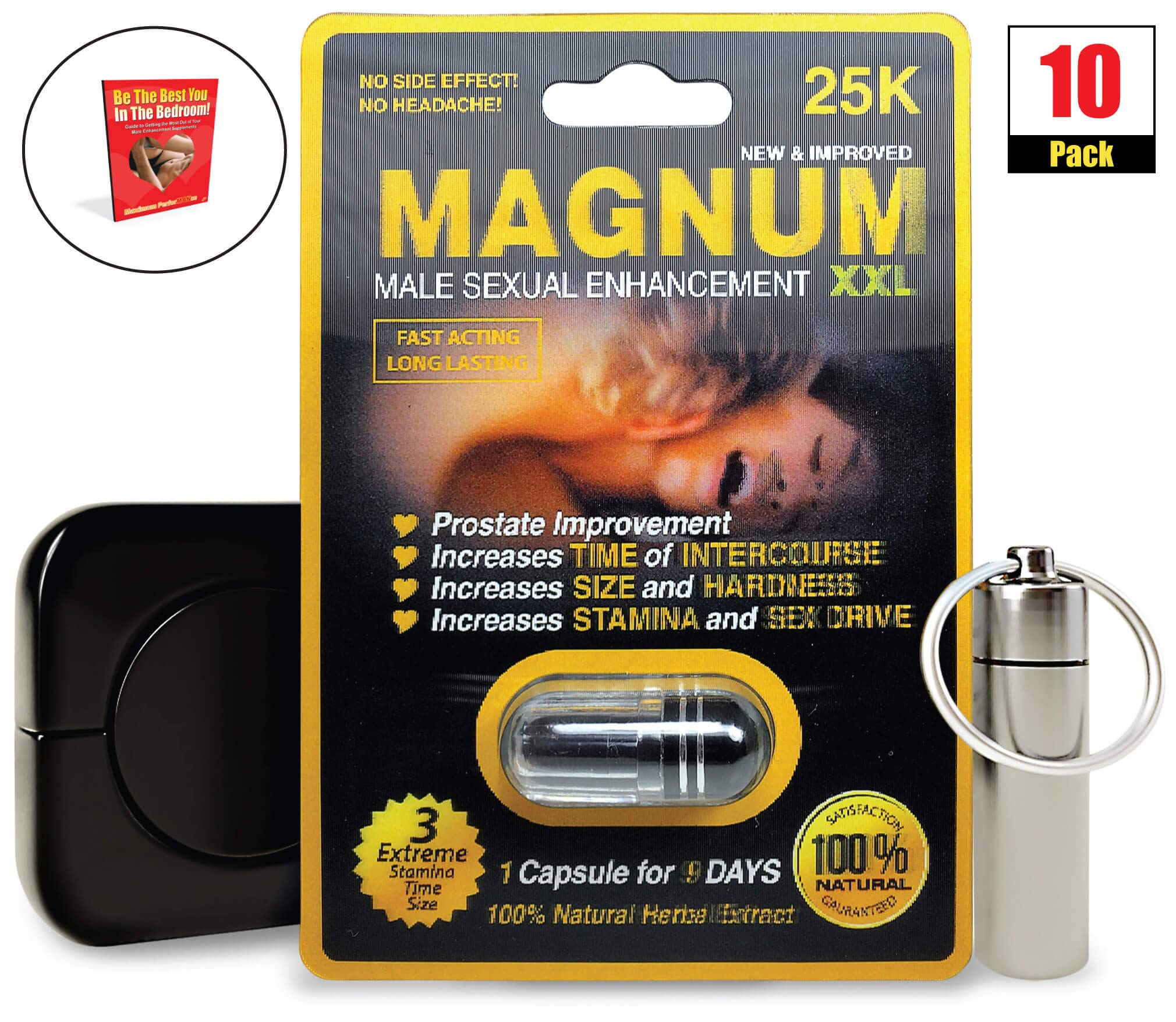 Magnum XXL 25k (10) Pack, Natural Male Performance Booster, Increase Energy & Stamina Bundle w/Keychain, Case, Booklet (13 Items)