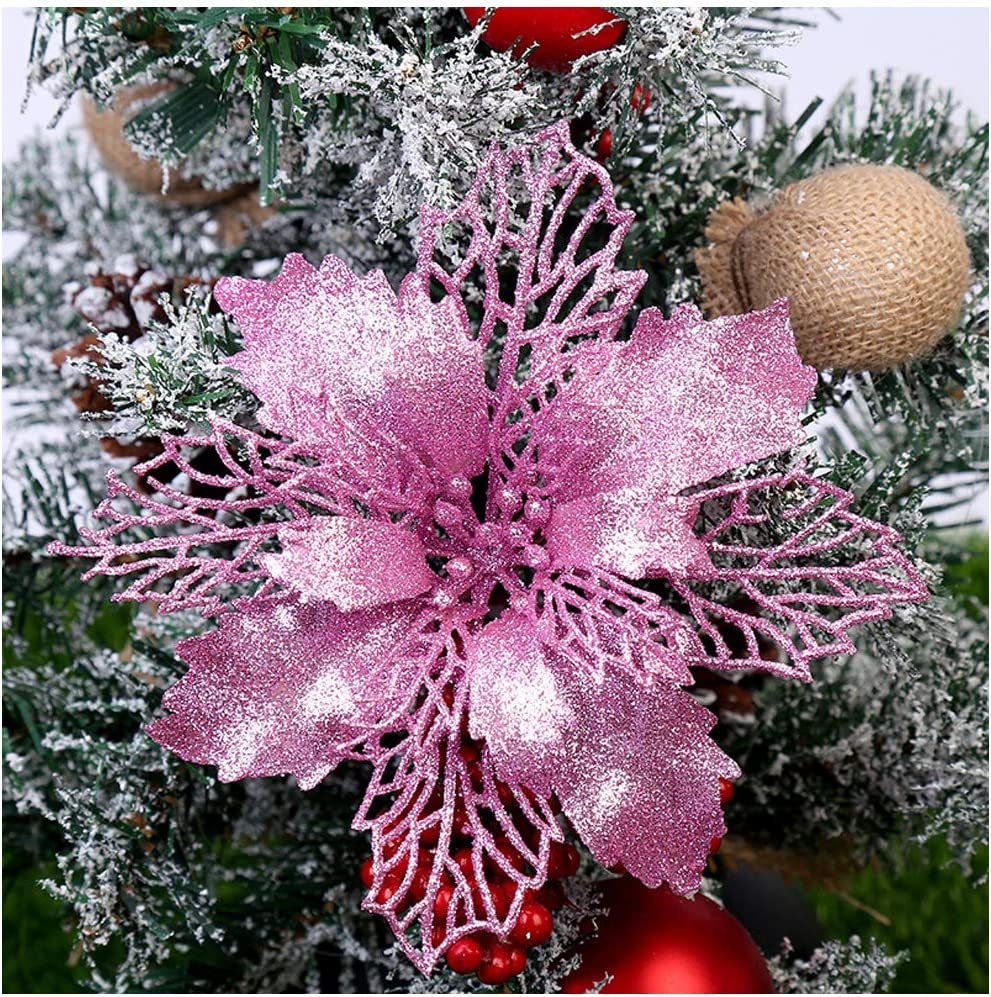 GL-Turelifes Pack of 12 Glitter Artificial Poinsettia Flowers Christmas Wreath Christmas Tree Flowers Ornaments 6''(16cm) Diameter with 12 Pcs Green Soft Stings (Pink)