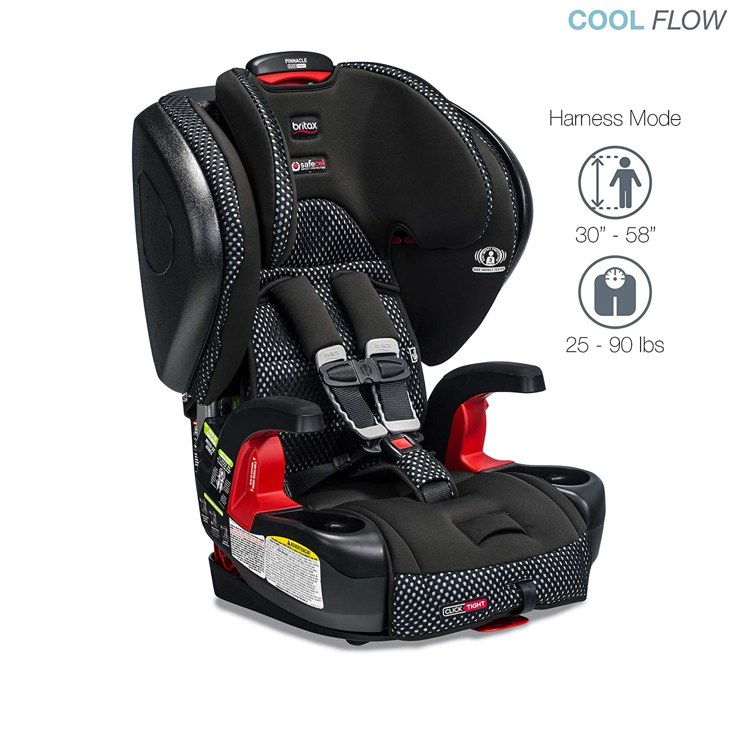 Cool Flow Grey Britax Pinnacle ClickTight Harness-2-Booster Car Seat