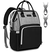 Diaper Bag Backpack Nappy Bag Upsimples Baby Bags for Mom and Dad Maternity Diaper Bag with USB Charging Port Stroller Straps Thermal Pockets,Water Resistant, Black&Gray