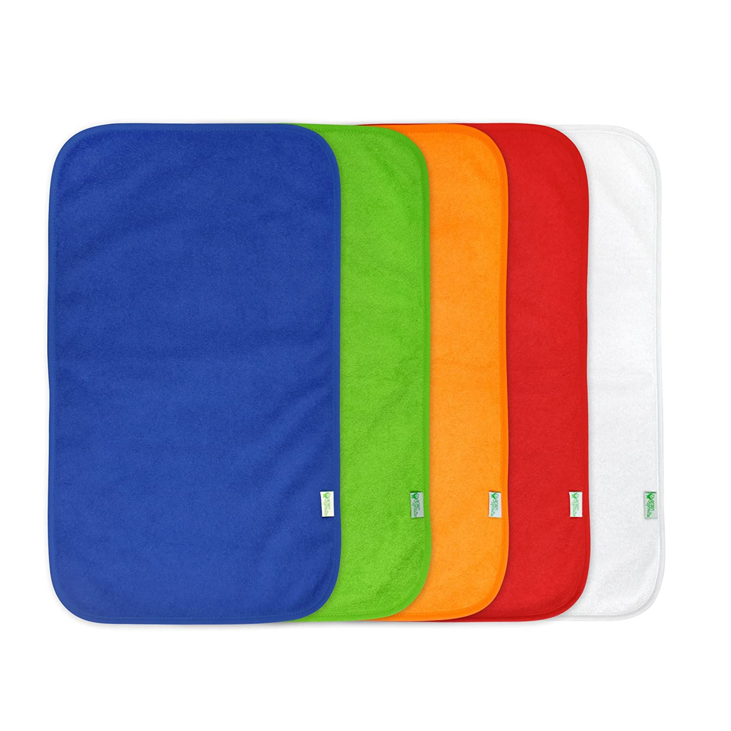 5 Count Waterproof protection Soft /& absorbent terry green sprouts Stay-Dry Burp Pads Machine washable | Ultimate protection from drools /& spit ups