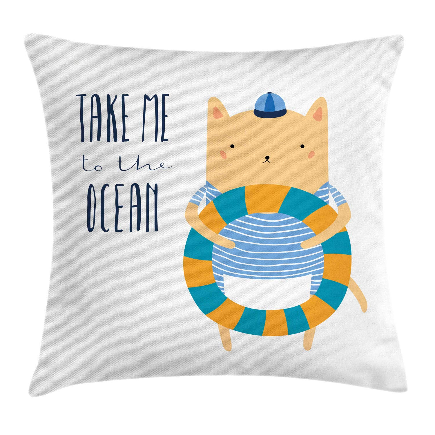 Lunarable Ocean Saying Throw Pillow Cushion Cover, Nursery Themed Cartoon Animal Character in Marine Clothes Take Me to The Ocean, Decorative Square Accent Pillow Case, 36'' X 36'', Multicolor by Lunarable