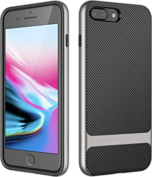 JETech Case for iPhone 7 Plus, iPhone 8 Plus, 5.5 Inch, 2-Layer Slim Protective Cover, Shock-Absorption and Carbon Fiber