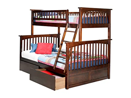 Amazon Com Columbia Bunk Bed With 2 Flat Panel Bed Drawers Twin