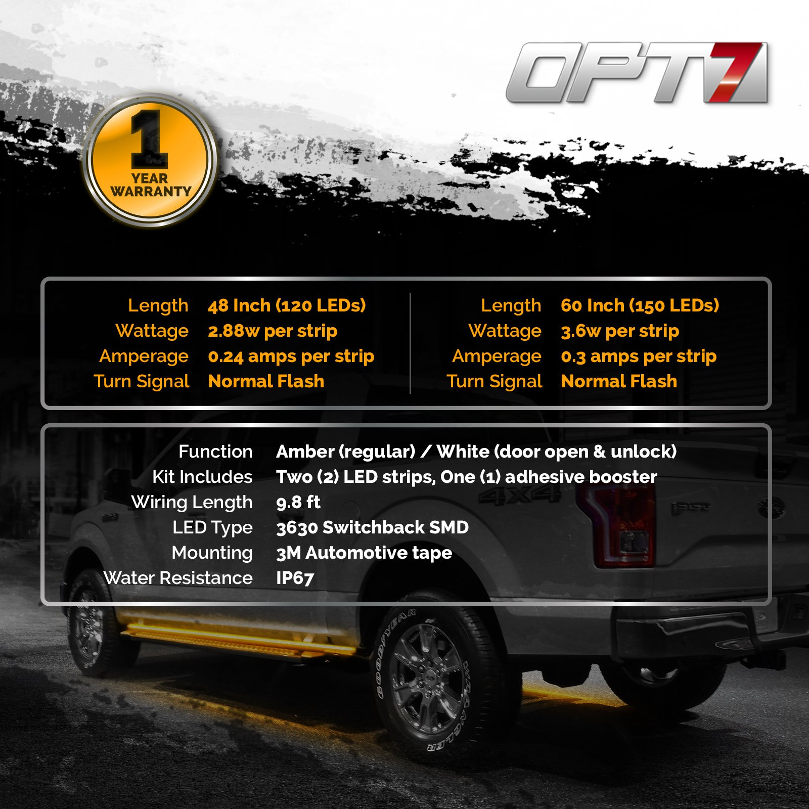 OPT7 2pc 60'' Side Kick Running Board LED Strips w/Amber Turn Signal, DRL, and White Courtesy Lights by OPT7 (Image #7)