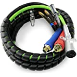 TORQUE 15ft 3 in 1 ABS & Air Power Line Hose Wrap 7 Way Electrical Cable with Handle Grip for Semi Truck Trailer Tractor…