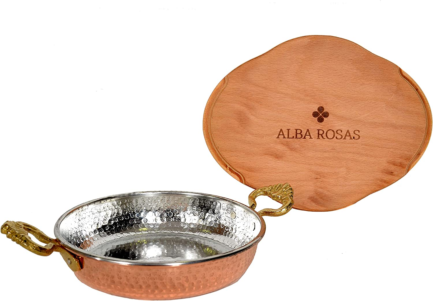 ALBA ROSAS 7.08 inch Thick 2mm Weight 0.92 pounds Hammered Copper Pan – Turkish Greek Arabic Heat Resistant Egg Omelette Frying Pan with Natural Wooden Base - 18 cm