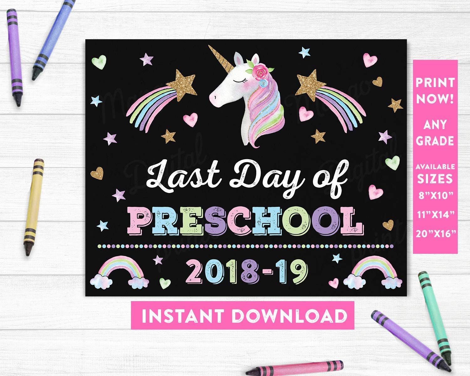 photo relating to Last Day of Preschool Sign Printable called : Previous Working day of Preschool Indication, Unicorn Very last Working day of
