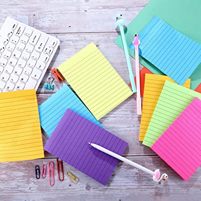 4 x 6 Inch School and Home AIEX 6 Pack 300 Sheets Lined Sticky Notes 6 Bright Colors Self-Stick Notes Memo Notes for Office