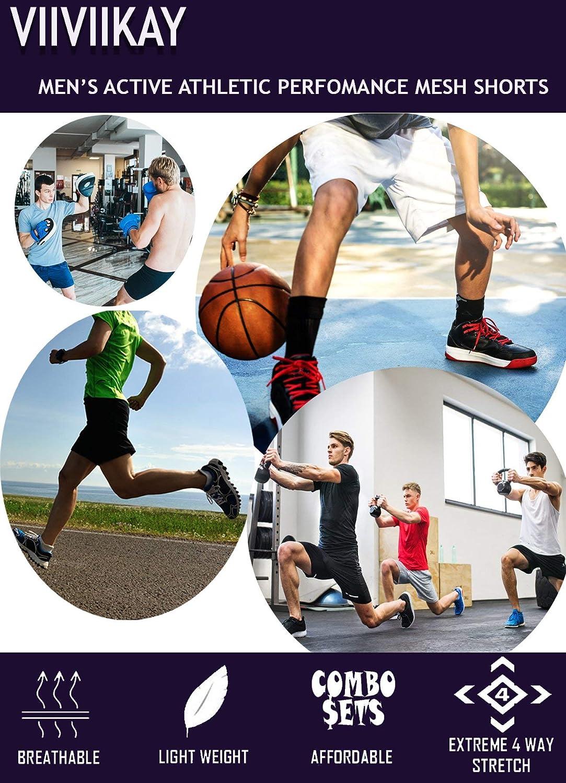 ViiViiKay Mens Athletic Basketball Shorts Mesh Workout Gym Shorts with Pocket SET3/_BLK/_DKGREY/_NAV 3XL