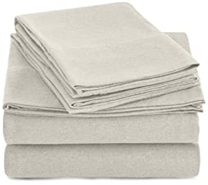 AmazonBasics Heather Jersey Sheet Set - King, Oatmeal