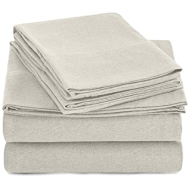 AmazonBasics Heather Cotton Jersey Bed Sheet Set - Queen, Oatmeal