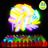 """FiGoal 84 Pack 2.5 Inch Glow-in-the-Dark Easter Eggs with 2"""" Mini Glowing sticks in Assorted Colors Decoration Toy Supplies for Easter Games, Party Favor, Egg Hunt Theme, Easter Basket Stuffers Classroom Prizes"""