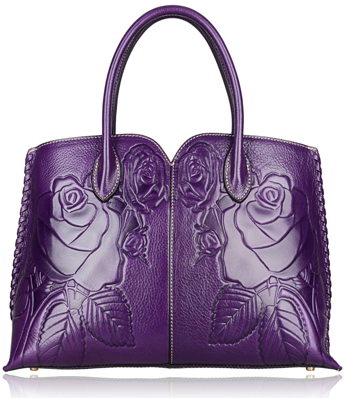 Pijushi Designer Floral Purse Women's Genuine Leather Tote Handbags 65102 (violet)