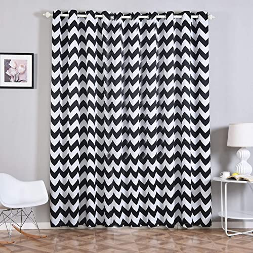 Efavormart 2 Panels White Black Polyester Chevron Design Thermal Insulated Blackout Room Darkening Grommet Top Curtain 52 x96