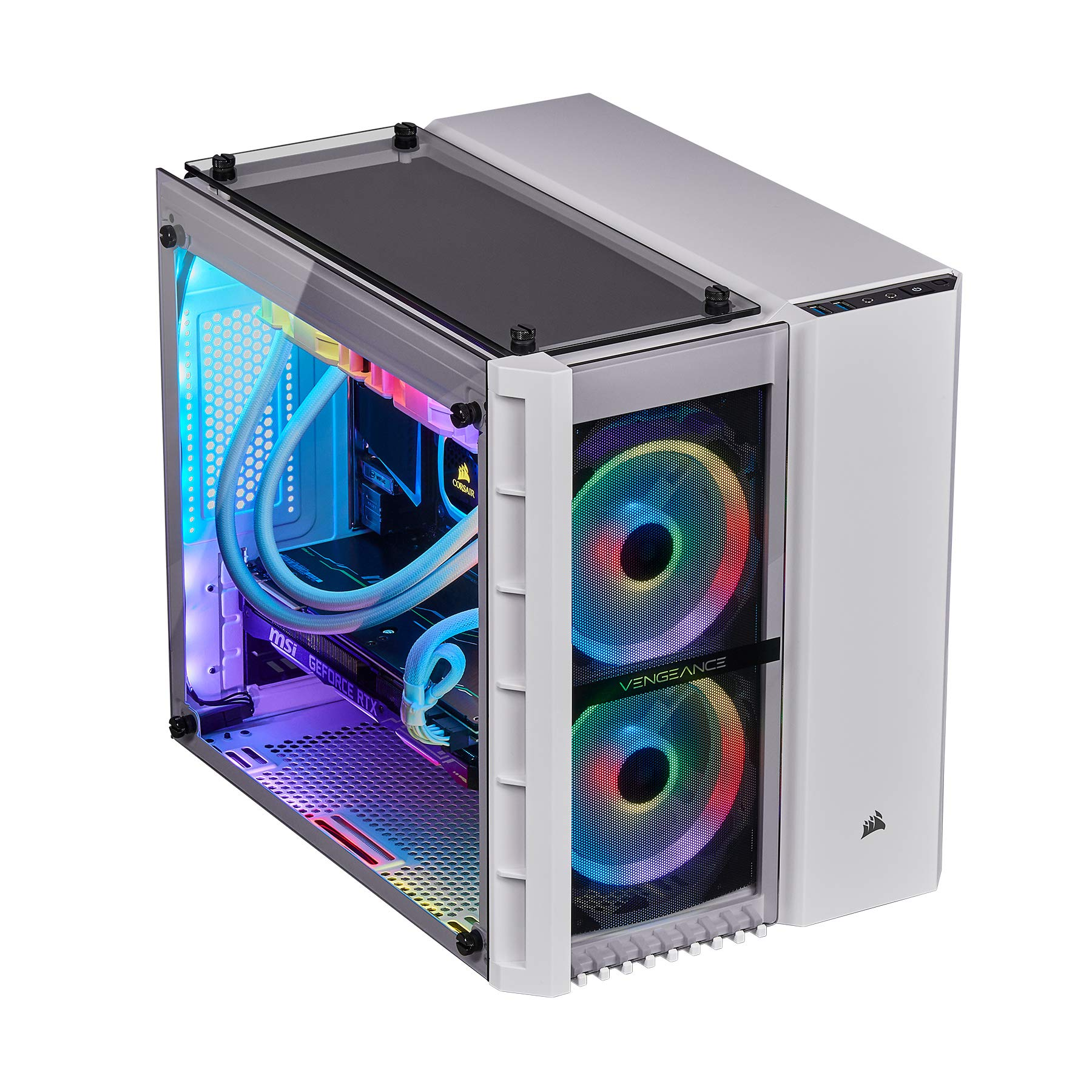 CORSAIR Vengeance 5189 Gaming PC, i7-9700K, RTX 2080, Z390, 960GB M.2 SSD, 32GB DDR4-3000, Win 10 Home - White by Corsair