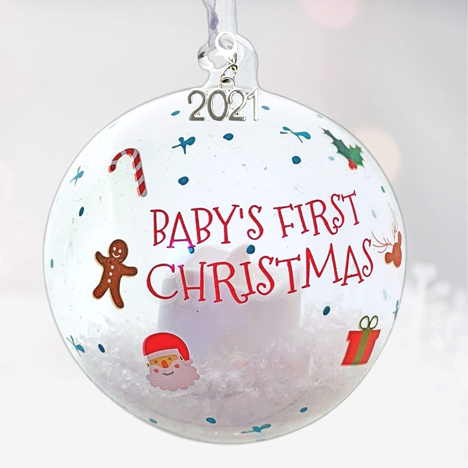 BANBERRY DESIGNS 2021 Baby's First Christmas Ornament Globe - Collectible LED Lighted Glass Ball Xmas Ornament - New Baby Gift