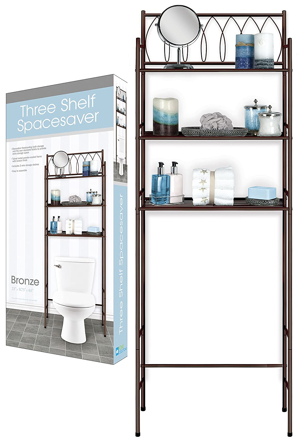 DINY Home Collections 3 Shelf Over The Toilet Spacesaver Easy to Assemble (Bronze) 65